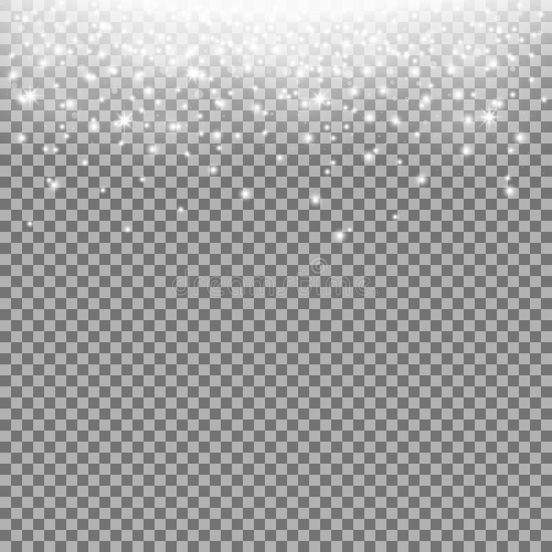 Funkelndes stardust, funkelnde Partikel, weiße Farbe vektor abbildung