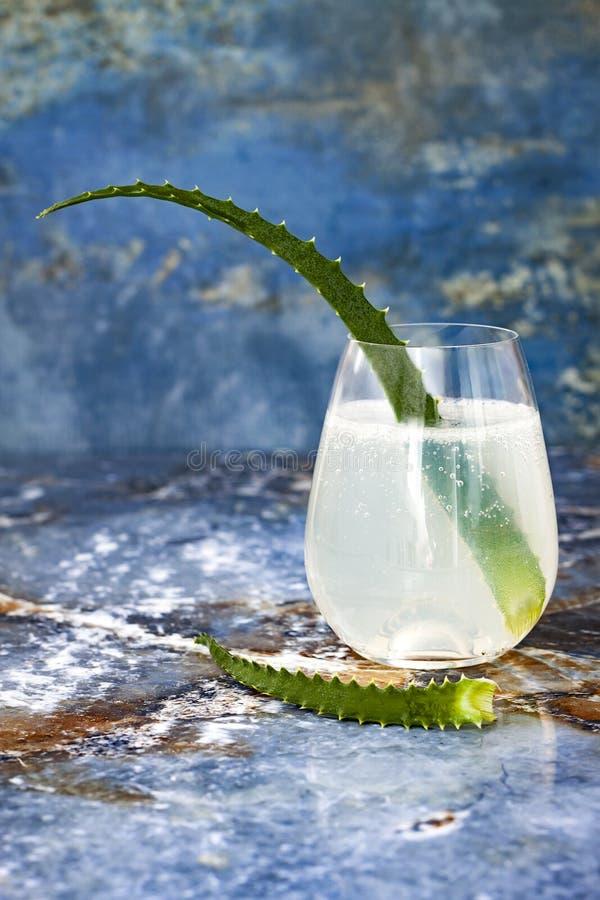 Funkelndes tadelloses Gin Tonic der Gurke sprudeln mit Aloe Vera auf Marmortabelle Kopieren Sie Platz Dracheendstückcocktail für  lizenzfreies stockfoto