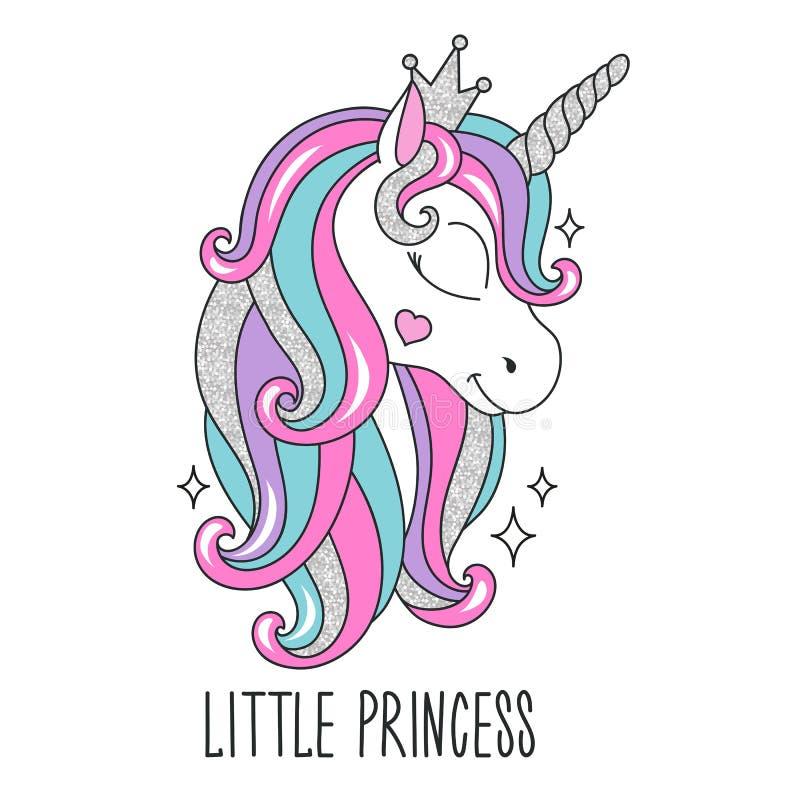 Funkelneinhornzeichnung für T-Shirts Wenig Prinzessintext Design für Kinder Modeillustrationszeichnung in der modernen Art für lizenzfreie abbildung