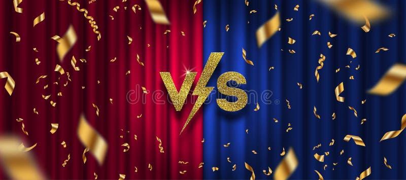 Funkelngold gegen Logo, goldenes Konfetti auf rotem und blauem Vorhanghintergrund GEGEN Logo für Spiele, Kampf, Leistung, Show, M stock abbildung