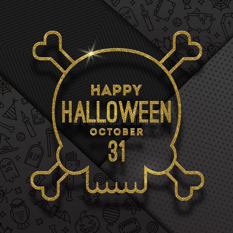 Funkelngoldkontur eines Schädels mit Halloween-Gruß auf einem schwarzen Hintergrund mit linearen Halloween-Zeichen und -symbolen vektor abbildung
