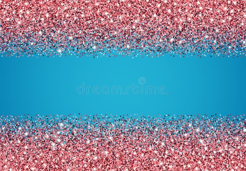 Funkelnhintergrund mit rosa Konfettis und Scheinen über Blaurückseite vektor abbildung