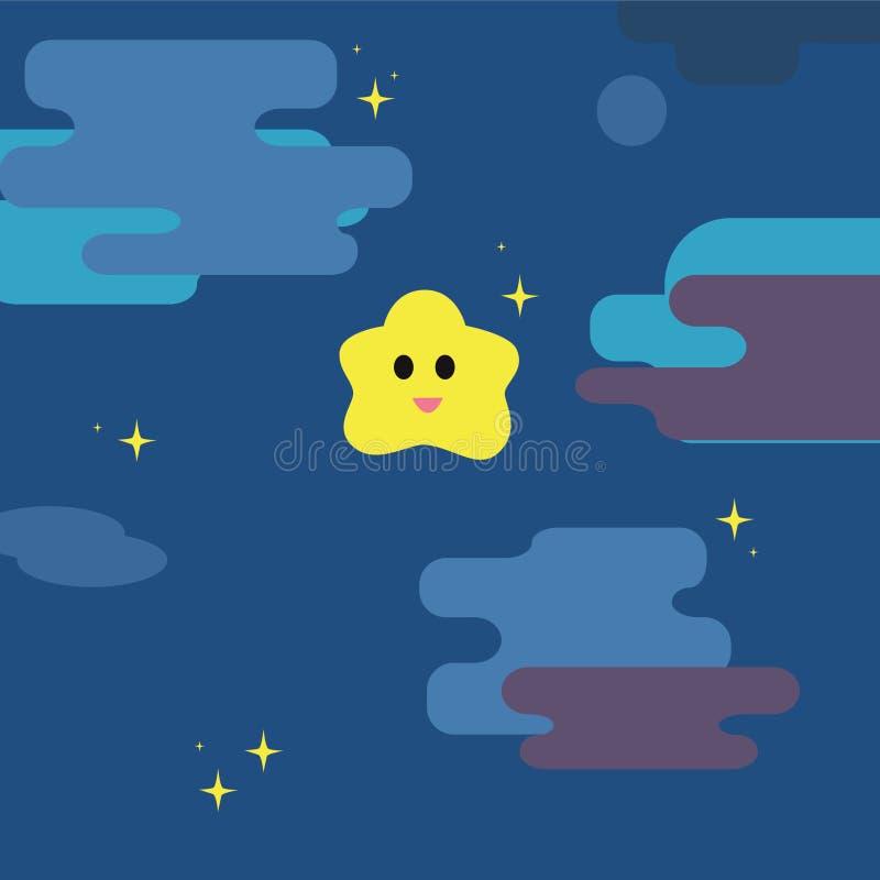 Funkelnkleiner stern mit Hintergrund des nächtlichen Himmels stock abbildung