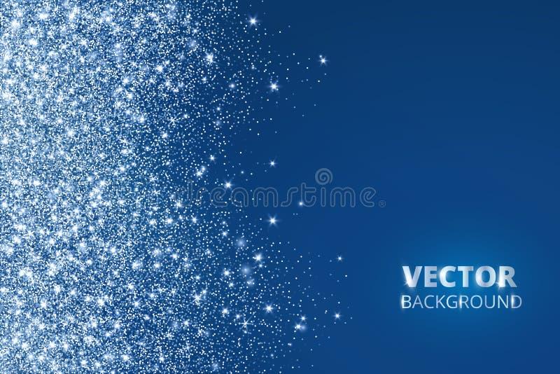 Funkelnkonfettis, Schnee, der von der Seite fällt Vektorstaub, Explosion auf blauem Hintergrund Funkelnde Grenze, Rahmen lizenzfreie abbildung