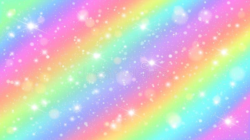 Funkelnregenbogenhimmel Glänzender Regenbogenpastellfarbmagischer feenhafter sternenklarer Himmel- und Funkelnscheinvektorhinterg stock abbildung