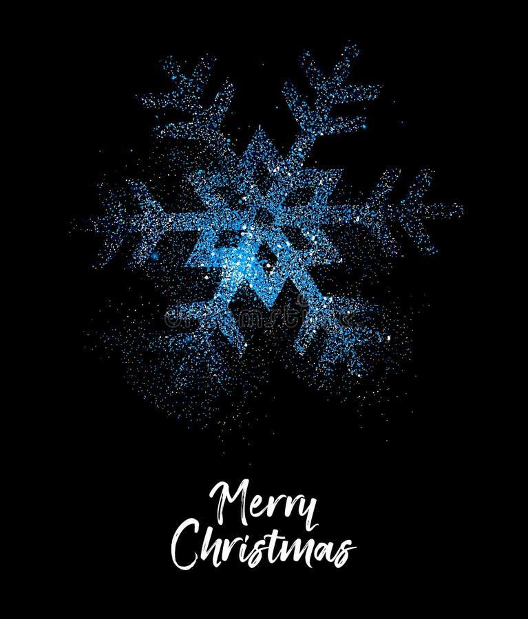 Funkelnschneeflockenkarte der frohen Weihnachten blaue stock abbildung