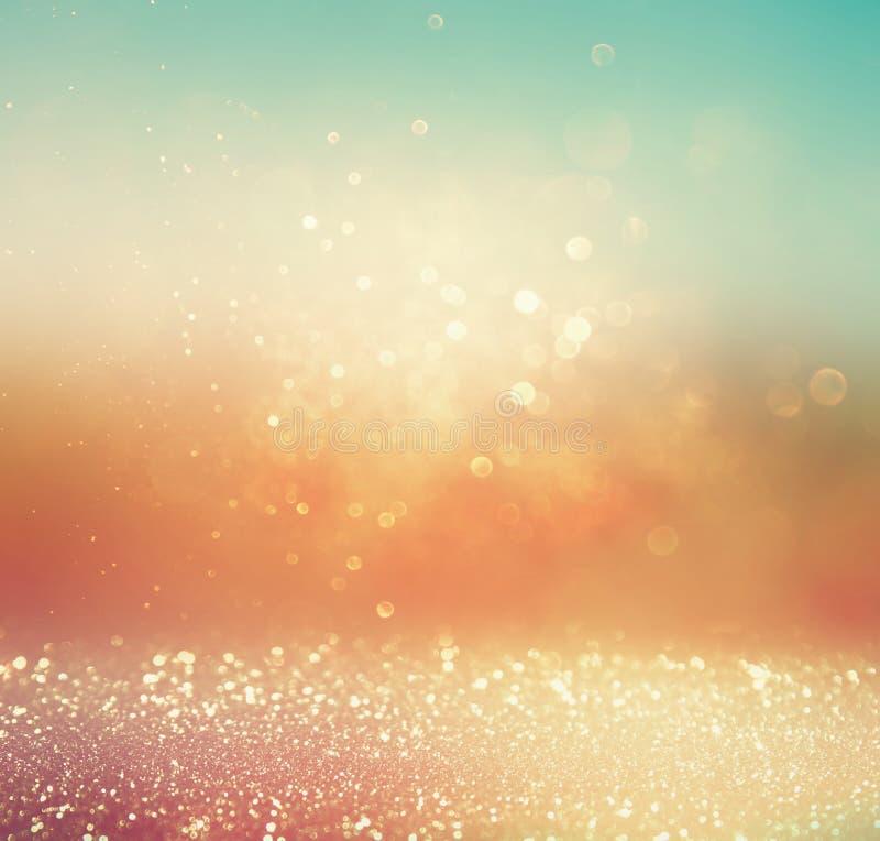 Funkelnweinlese beleuchtet Hintergrund Gold, Silber, Blau und Weiß Zusammenfassung unscharfes Bild