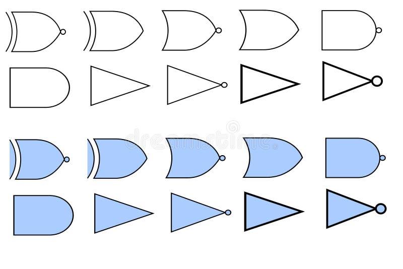 Funktionelle Symbole für die logischen und mathematischen Operationen vektor abbildung