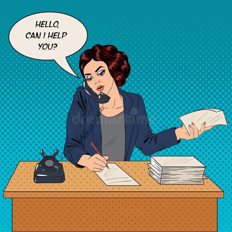 Funktionsduglig affärskvinna Speaking på telefonen stock illustrationer