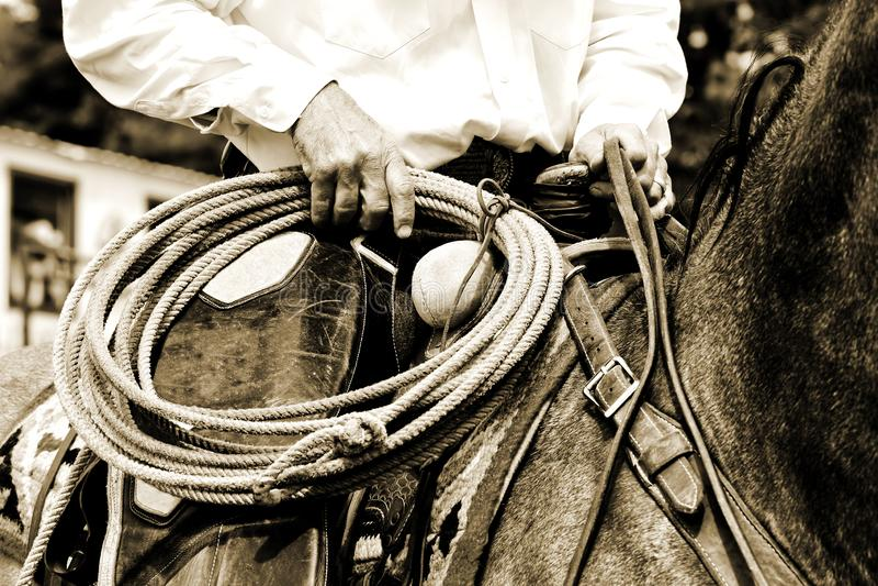 Funktionsduglig cowboy Riding med repet - Sepiaton arkivbild