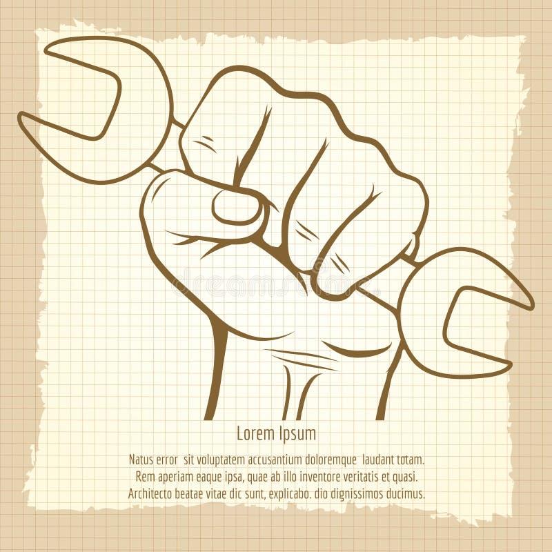 Funktionsduglig hand med skiftnyckeltappningaffischen royaltyfri illustrationer