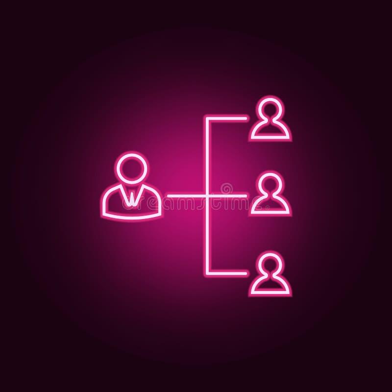 funktionsduglig hierarkisymbol Beståndsdelar av timme & värmejakt i neonstilsymboler Enkel symbol för websites, rengöringsdukdesi royaltyfri illustrationer