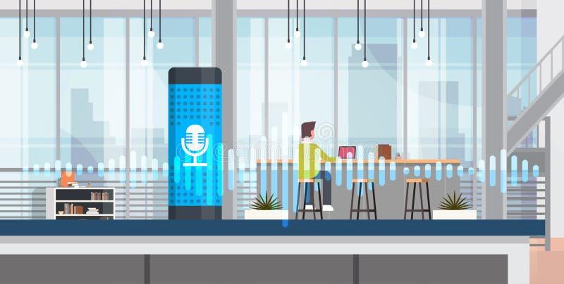 Funktionsduglig intelligent stämma aktiverad högtalare för ai för inre bakgrund för kontor för begrepp för assistenterkännandetek royaltyfri illustrationer