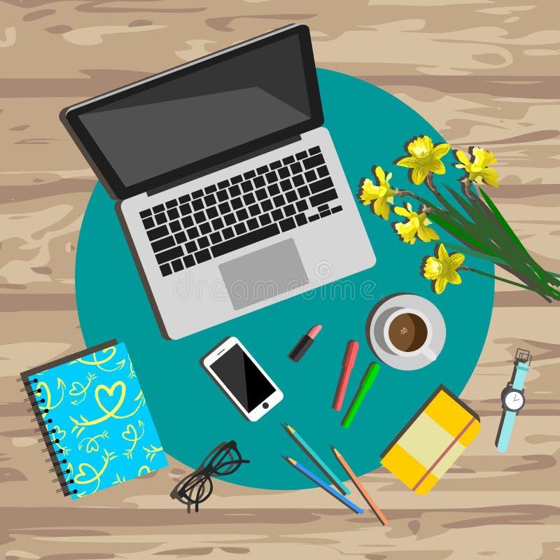 Funktionsduglig skrivbords- sikt för kvinna Arbetsplatsvektorillustration vektor illustrationer