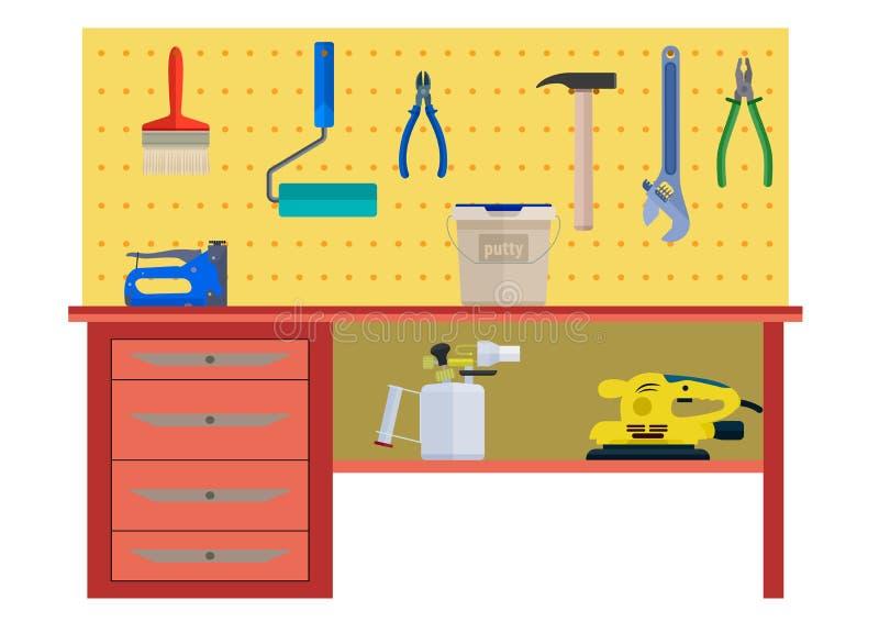 Funktionsduglig tabell med plattång för rulle för instrumenthammareborste royaltyfri illustrationer
