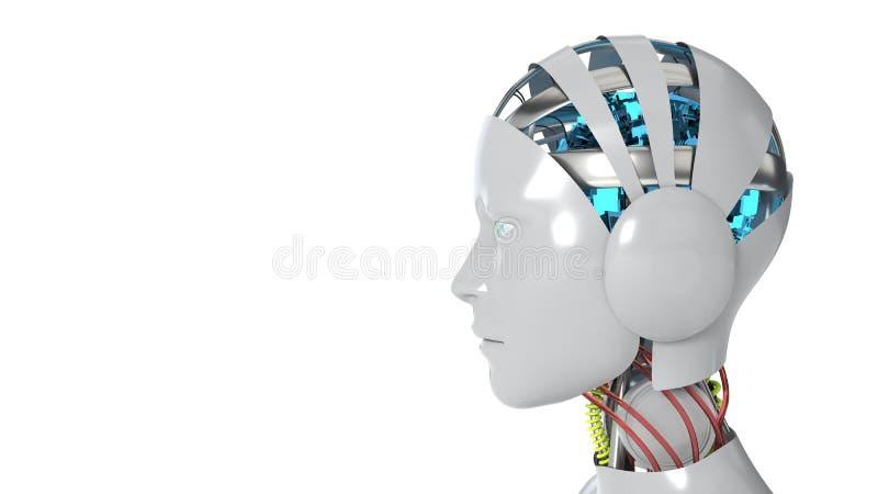 Funktionsduglig vit bakgrund för robotkvinna, tolkning 3d royaltyfri illustrationer