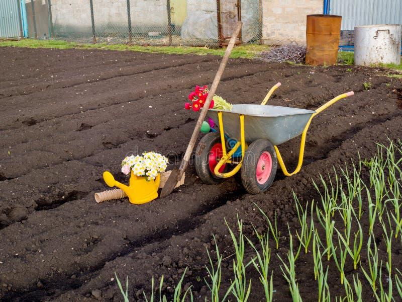 Funktionsdugliga hjälpmedel på den trädgårds- sängen royaltyfri bild