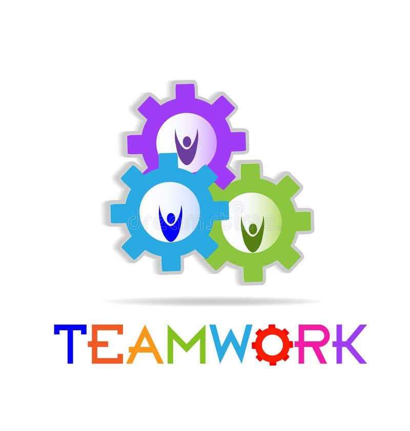 Funktionsdugliga kugghjul för teamwork, gemenskapvektorsymbol royaltyfri illustrationer