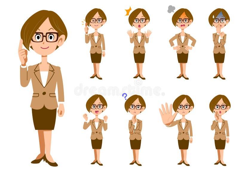 Funktionsdugliga kvinnor med glasögon 9 gör en gest och ansiktsuttryck stock illustrationer