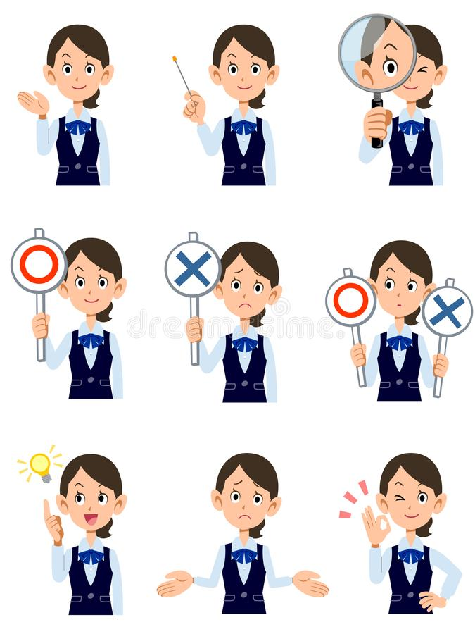 Funktionsdugliga kvinnor 9 sorter av gester och ansiktsuttryck royaltyfri illustrationer