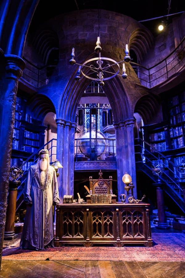 Funktionsdugligt rum av professorn Albus Dumbledore fotografering för bildbyråer