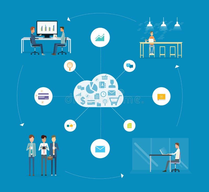 Funktionsdugligt samarbete för affärsfolk på stort databegrepp royaltyfri illustrationer