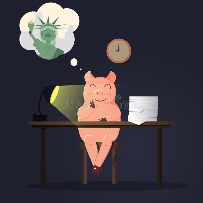Funktionsdugligt svin i regeringsställning som drömmer omkring i New York royaltyfri illustrationer
