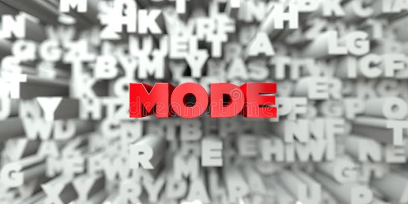 FUNKTIONSLÄGE - Röd text på typografibakgrund - 3D framförde fri materielbild för royalty stock illustrationer