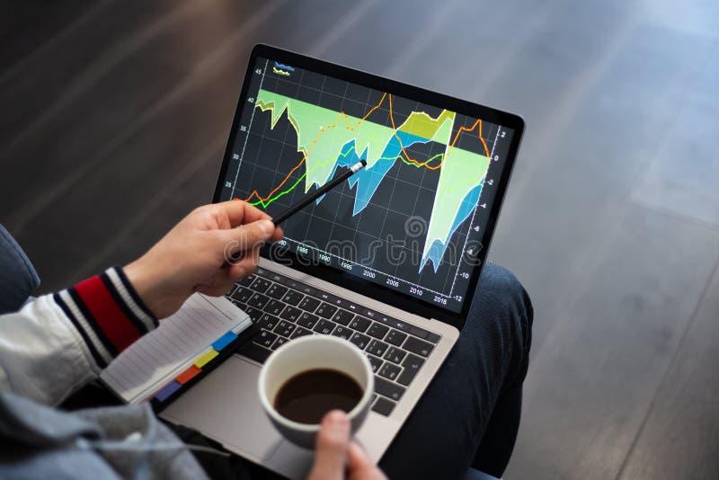 Funktionsprojekt auf Laptop mit Kaffee in den H?nden lizenzfreie stockfotos