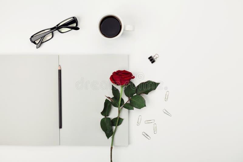 Funktionsraum der Frauen mit Tasse Kaffee, Bleistift, leerem Notizbuch, Gläsern und rosafarbener Blume auf weißer Tischplatteansi stockfotos