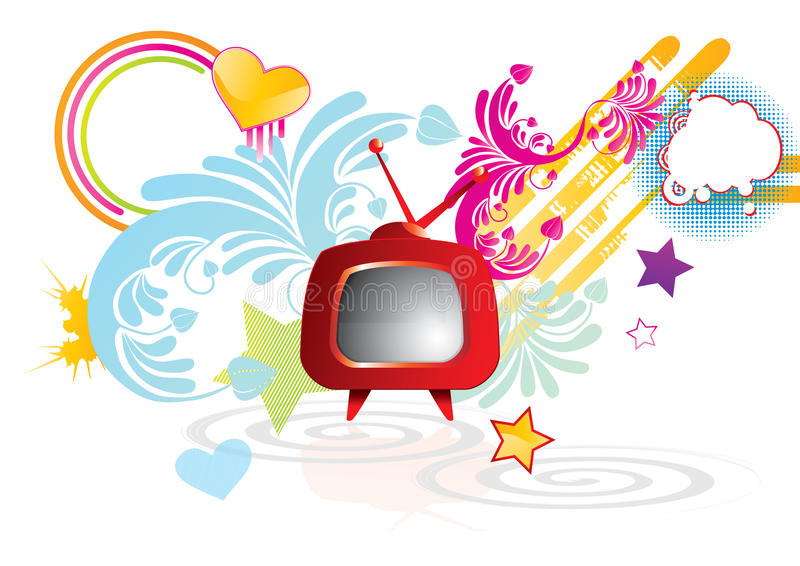 Funky abstract background with red retro TV. Illustration stock illustration