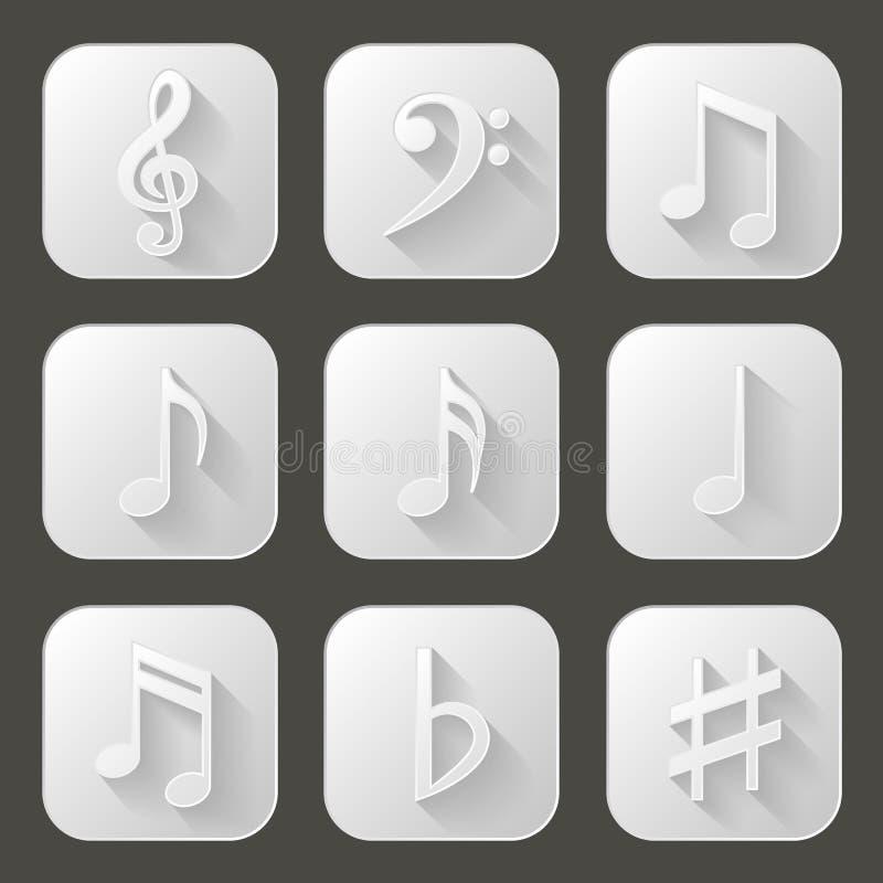 Funky Achtergrond van de Muziek Reeks pictogrammen met lange schaduw royalty-vrije illustratie