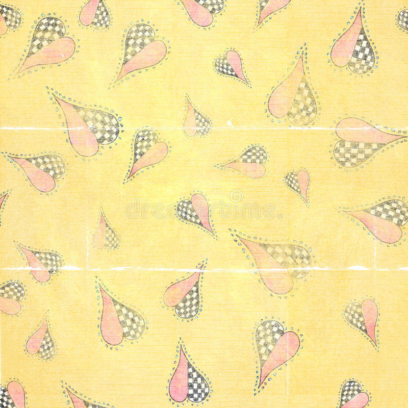 Funky Arty Hearts Worn Folded Paper Background stock photo