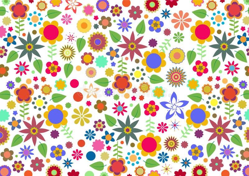 Funky bloemen en bladeren abstract patroon royalty-vrije illustratie