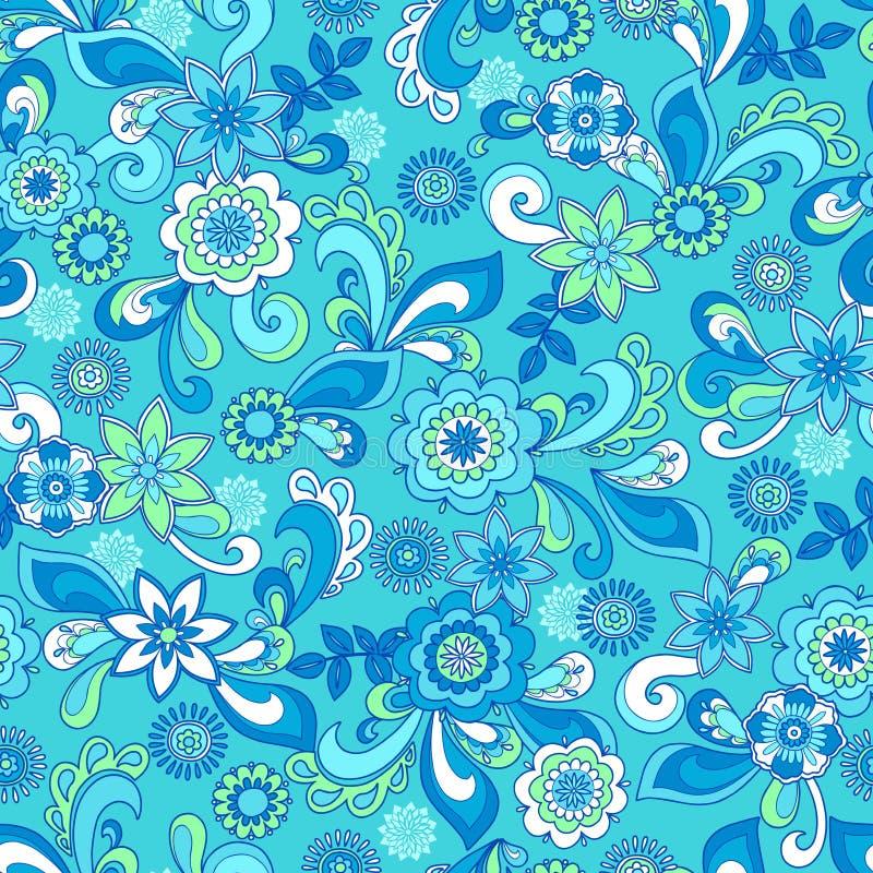 Funky Bloemen Naadloos herhaalt Patroon vector illustratie