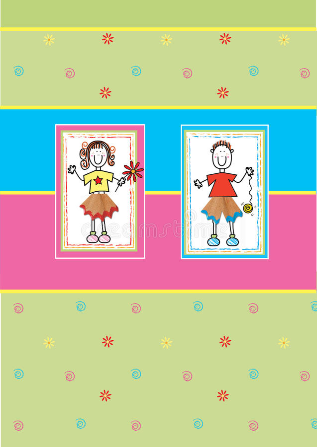 Download Funky boy and girl stock illustration. Image of yellow - 14192818