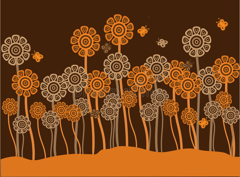 Funky brown & orange retro flowers & butterflies. Vector illustration of funky brown and orange retro flowers on a brown and orange background royalty free illustration