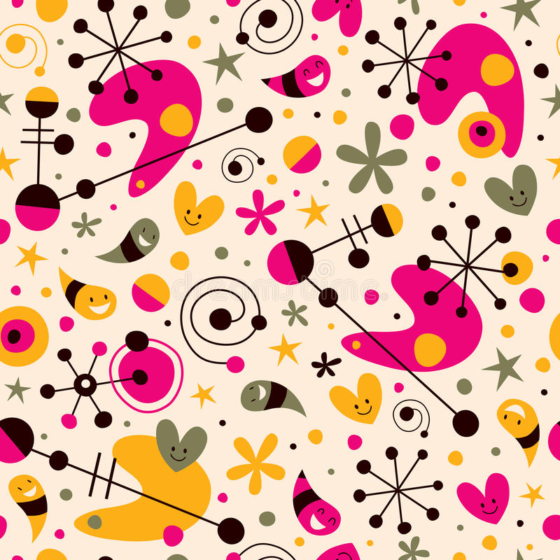 Funky cartoon retro pattern stock illustration
