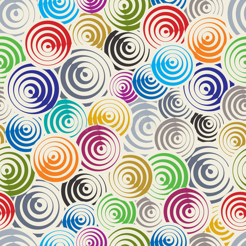 Funky circles retro style seamless pattern. vector illustration
