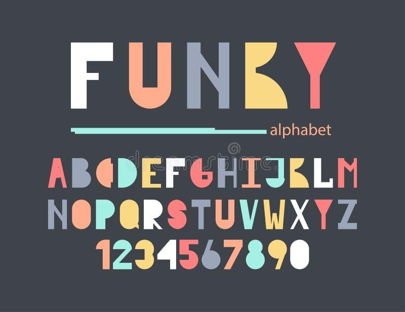 Funky colorful alphabet. stock illustration