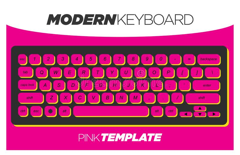 Funky and Creative Pink Keyboard Template royalty free stock image