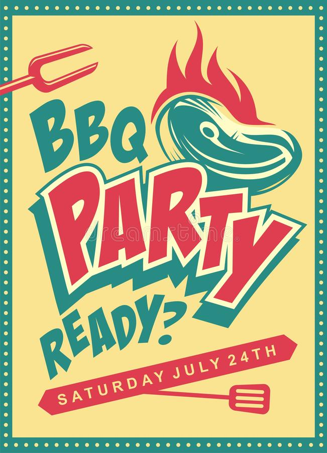 Funky design concept for barbecue party. Retro poster with steak on the grill. Playful food cartoon vector for summer bbq stock illustration