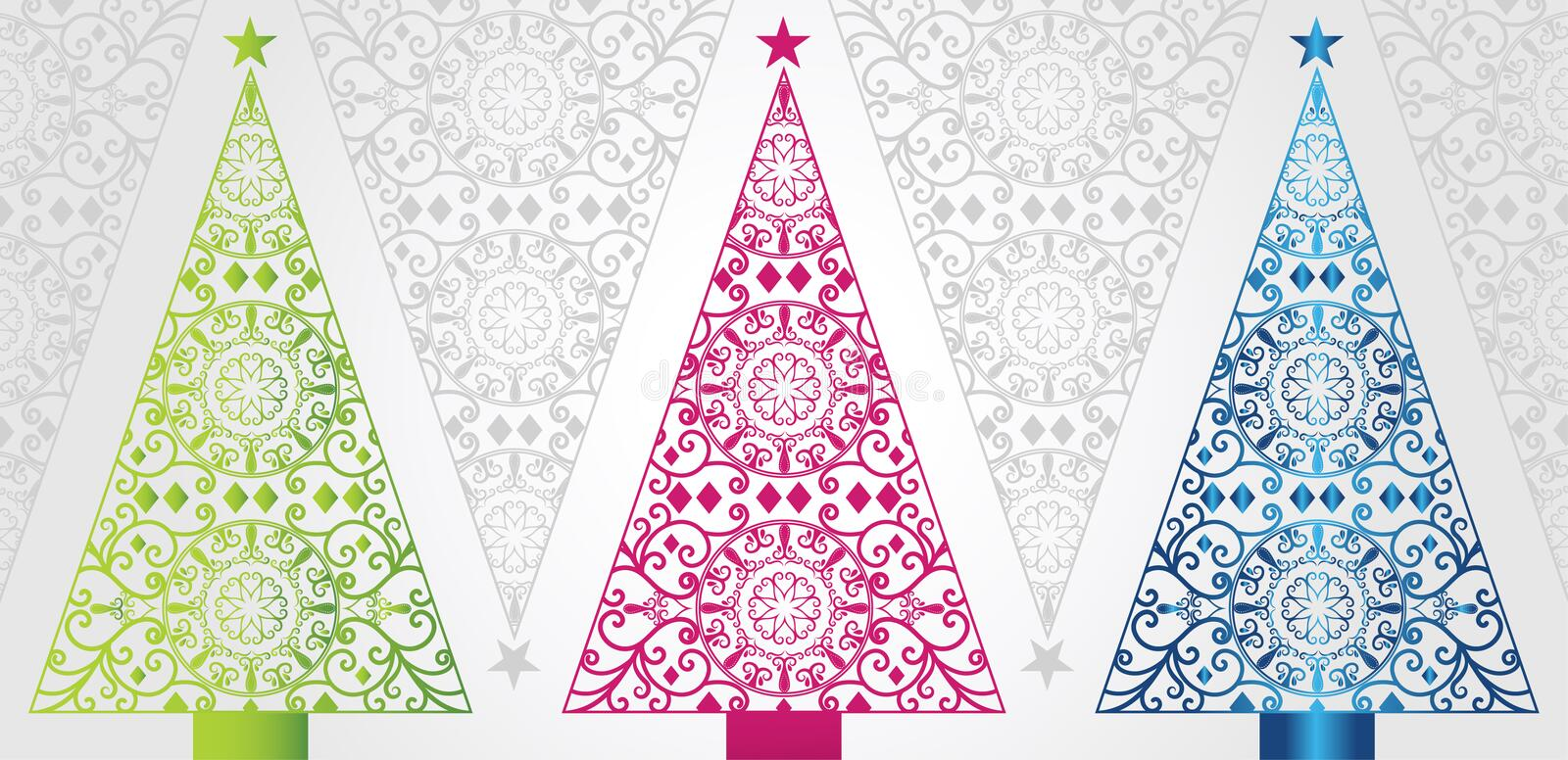 Funky And Elegant Christmas Trees Stock Photo - Image of ...