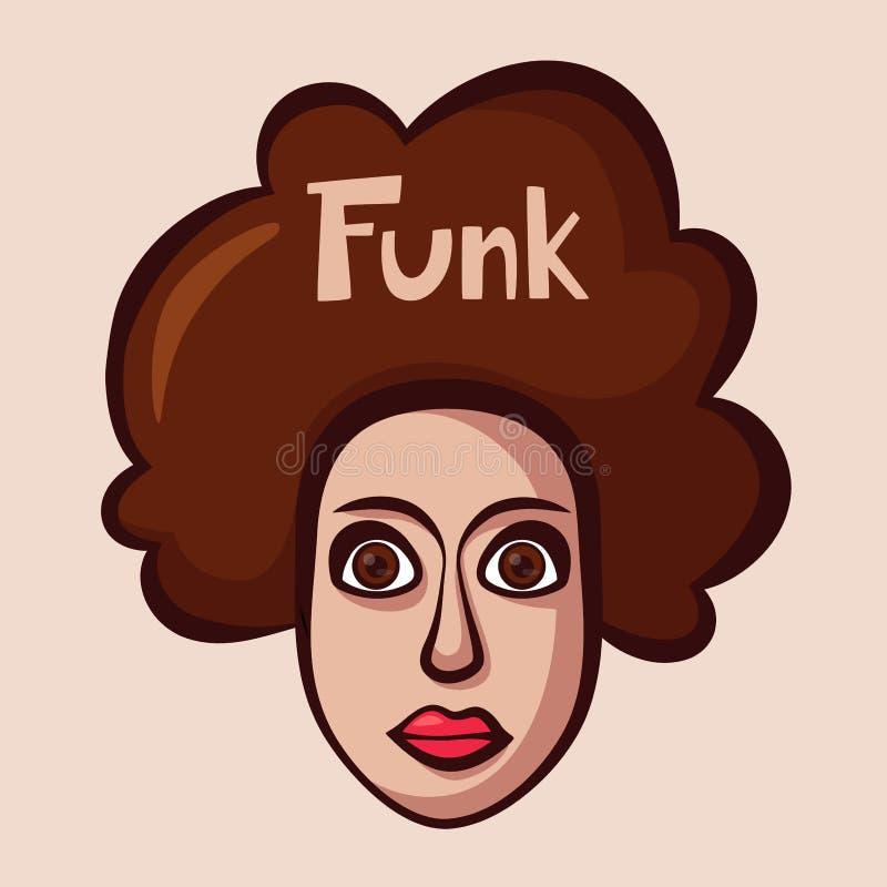 Funky embleem met vrouw Lafbekmuziek De vectorillustratie van het beeldverhaal vector illustratie