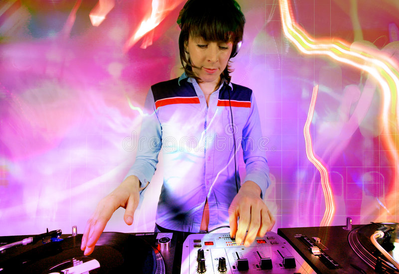 Download Funky female dj stock image. Image of lights, levels, mixer - 544183