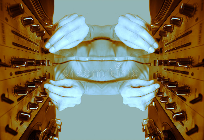 Funky female dj mirrored pattern vector illustration