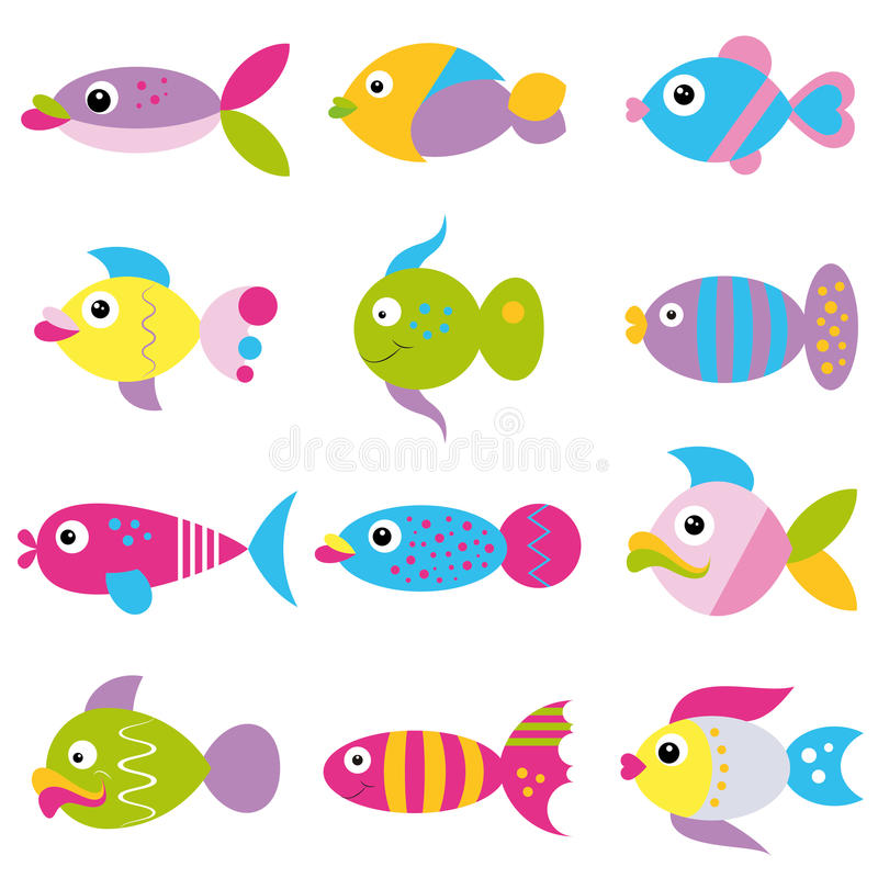 Funky fish collection pattern. Colorful cartoon fish set on white background stock illustration
