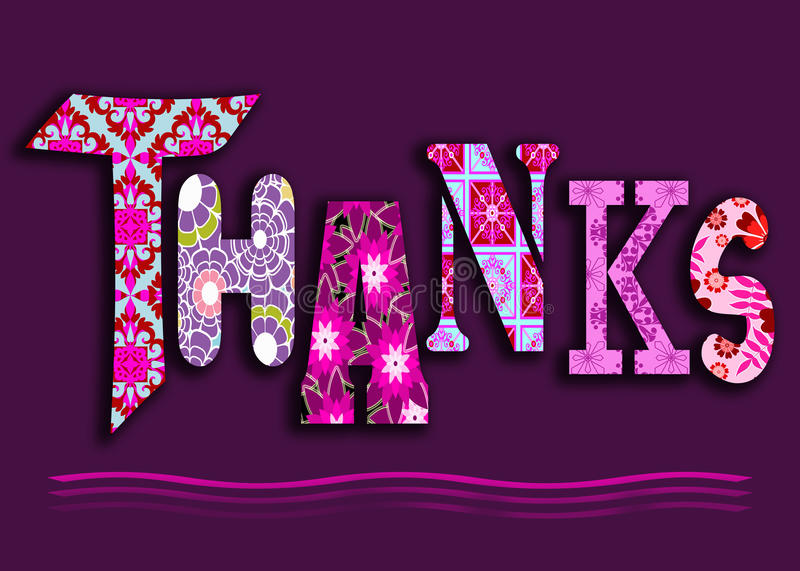 Funky floral thanks. Funky thank you message card banner header with patchwork flowers on a purple background stock illustration