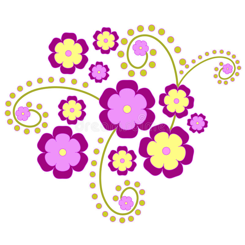 Funky florals. Funky yellow and violet flowers royalty free illustration