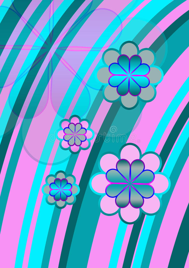 Funky flowers. Psychedelic flower design with bright turquoise blue and pink curved stripes overlaid with flowers stock illustration
